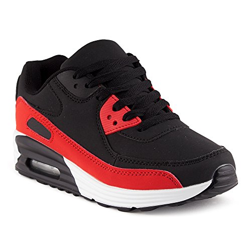 FiveSix Herren Damen Sportschuhe Dämpfung Sneaker Laufschuhe Schwarz/Rot-W EU 38