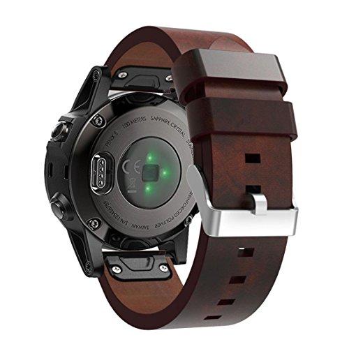 Sannysis Correas para Garmin Fenix 5 GPS, Banda de Cuero Artificial de Garmin Fenix 5 Correa (marrón)