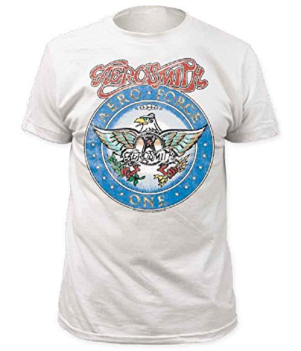 Aerosmith Aero Force Men's White Short Sleeve Tee as worn by Garth in Wayne's World