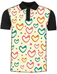 Snoogg Multicolor Hearts Cream Pattern Men's Polo T-Shirt with Collar Stylish Half Sleeve (Cotton,Polyester)