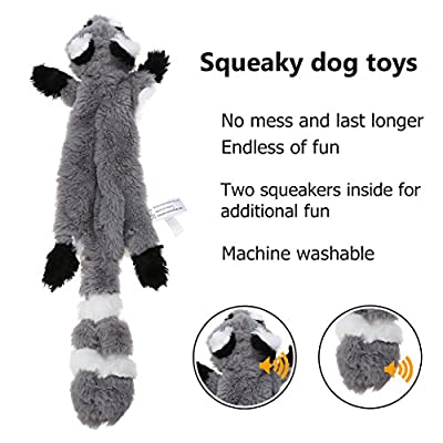 No Stuffing Dog Toy, 2 Pack Squirrel Raccoon Squeaky Plush Dog Toy, Stuffingless Dog Chew Toy for Small Medium Dogs - 42cm