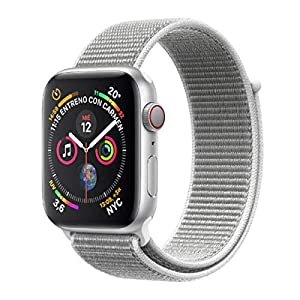 Apple Watch Series 4 (GPS + Cellular) con caja de 40 mm de aluminio en plata y correa Loop deportiva en color nácar