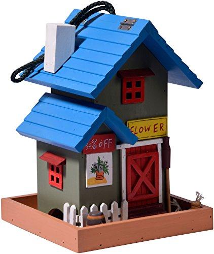 dobar 25108FSC Buntes Deko Vogelhaus Western zum Aufhängen aus Holz, Futterhaus Flower Shop, bunt - 4