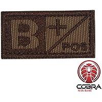 Cobra Tactical Solutions Parche Bordado Militar Tipo Sangre B POS marrón para Airsoft/Paintball para Mochila táctica, Ropa.