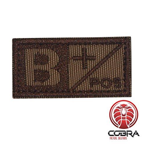 Cobra Tactical Solutions Patch ricamo military tipo sangue B POS marrone per softair/paintball per zaino tattico, abbigliamento.