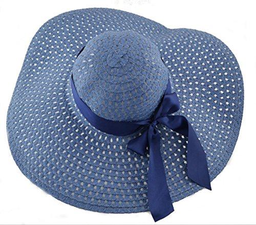 Basthut diamètre :  46 cm strandhut chapeau pour femme taille unique dans 10 couleurs bleu acier