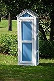 dobar schweres Gerätehaus aus Holz, Gartenschrank schon fertig aufgebaut, 61,5 x 41,5 x 185 cm,  blau / weiß - 5