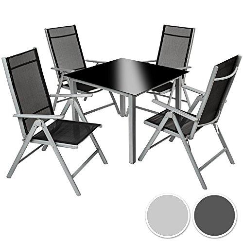 TecTake Aluminio conjunto muebles de jardin 4+1 silla adjustable mesa cristal terraza gris plata