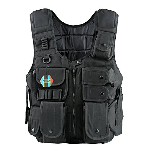 Pellor Erwachsene Taktische NylonWeste CS Feld Kampftraining Vest Funktionale Multitasche Weste (Schwarz)
