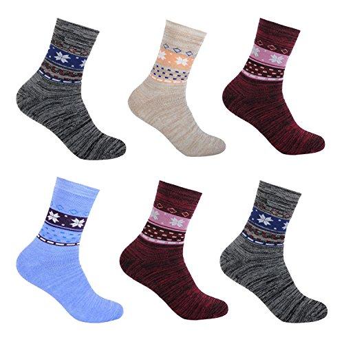 6 Paar L&K Damensocken Sportsocken Thermosocken Damen Socken Baumwolle Winter 92263 39-42