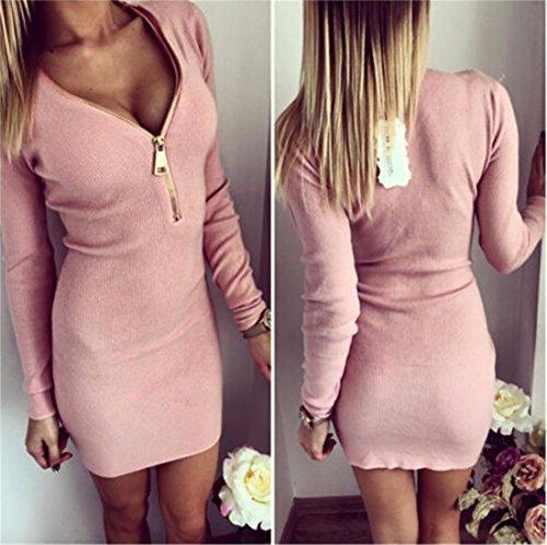 QIYUN.Z Glissiere Sexy V Neck Femmes Manches Longues Clubwear Moulante Paquet Mini Robe De La Hanche Rose