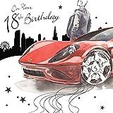 Twizler Happy Birthday per lui con argento lamina e unico effetto acquerello–Red Sports Car–Età 18–18anni Compleanno–maschio biglietto di compleanno