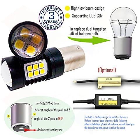 Wiseshine bay15d 1157 p21 5w led ampoule DC9-30v 3 ans d'assurance de la qualité (paquet de 2) Poutre haute/basse bay15d 22smd 3030 vert