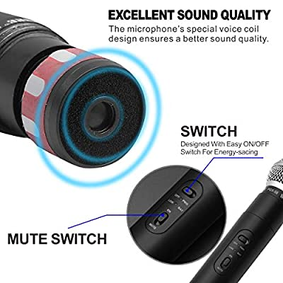 Wireless Microphone,Professional Dual-Channel VHF Handheld Wireless Microphone System with 2 Handheld Dynamic Transmitter Mics for Party,Conference,Karaoke (PGX58)