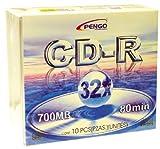 10-Pack CDR Media 32 x 700MB 80min Slim Jewel Case Pengo Branded