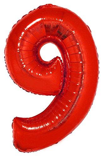 lon 100 cm - Rot Zahl 8 - Riesenzahl Luftballon Dekoration Geschenk für Geburtstag Jubiläum und Party (Rot Folienballons)