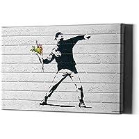 Banksy Fleurs Thrower sur Toile Fleur Throwart Mur Impression Graffiti Bomber encadré imprimé Rue Chambre Moderne jetant Bansky Decor
