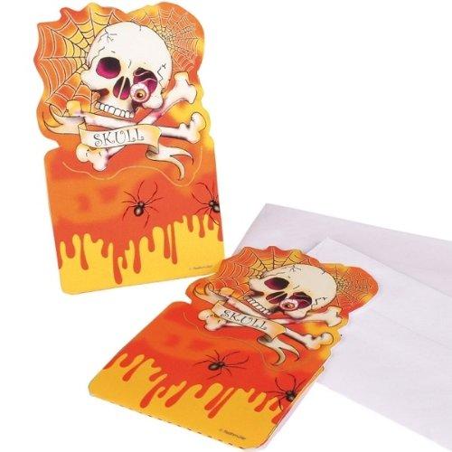 Einladungskarte 6 Stück Totenkopf Skull Party