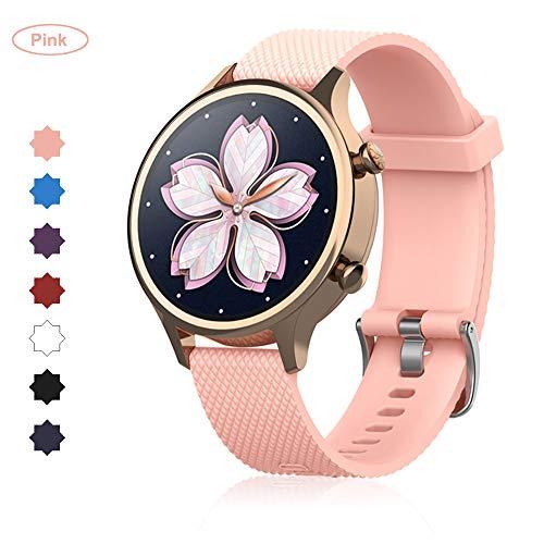 Buwico Armband für TicWatch C2 Watch, 18mm-Breit Silikon Handgelenk Uhrenarmbänder Fitness Sport Ersatz Uhrband Wechselarmbänder für TicWatch C2 Smartwatch (Rosa)