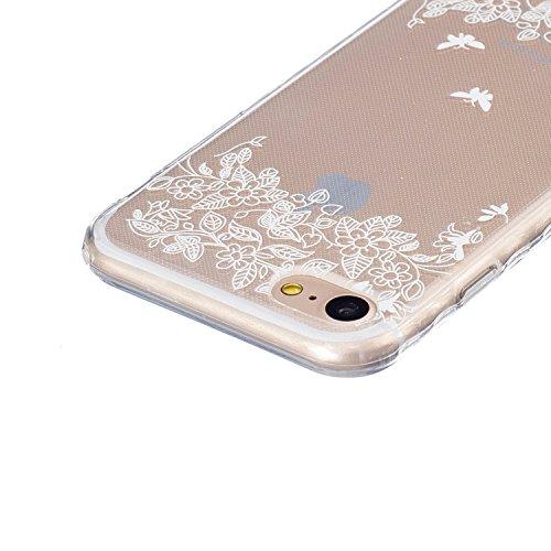 JAWAEU Coque Etui pour iPhone 7 Transparent,iPhone 7 Coque en Silicone,iPhone 7 Tpu Cover Souple Transparent Housse Etui Ultra Mince Cristal Clair Caoutchouc Bumper Housse Etui de Protection Flexible  Papillon