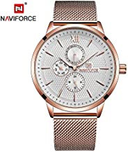 Naviforce Men's Silver Dial Stainless Steel Mesh Analogue Classic Watch - NF3003