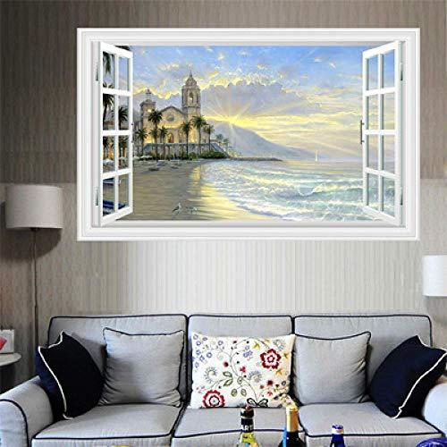 Vintage Seascape Poster 3D falsche Fenster Landschaft Wandaufkleber, Baum Aufkleber Art-Deco-Möbel für Kinder Baby Zimmer Aufkleber - Art-deco-möbel