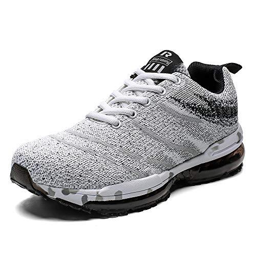 Scarpe da Ginnastica Uomo Donna Scarpe Corsa Air Cushion Sportive Running Atletico Allacciare Sneakers Bianco 43