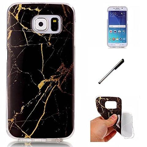 Coque Samsung Galaxy S6 marbre TPU ultra-mince transparente silicone souple Coquille.DECHYI - L'or noir+ Stylus capacitif