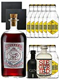 Gin-Set Monkey 47 SLOE GIN Schwarzwald Dry Gin 0,5 Liter + Black Gin Gansloser Deutschland 5cl + Siegfried Dry Gin Deutschland 4cl + 12 x Goldberg Tonic Water 0,2 Liter + 2 Schieferuntersetzer quadratisch 9,5 cm