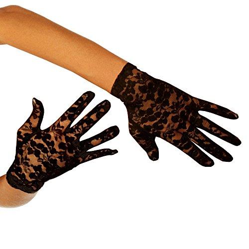 (9052 kurze Spitze-Handschuhe (One-Size, black))
