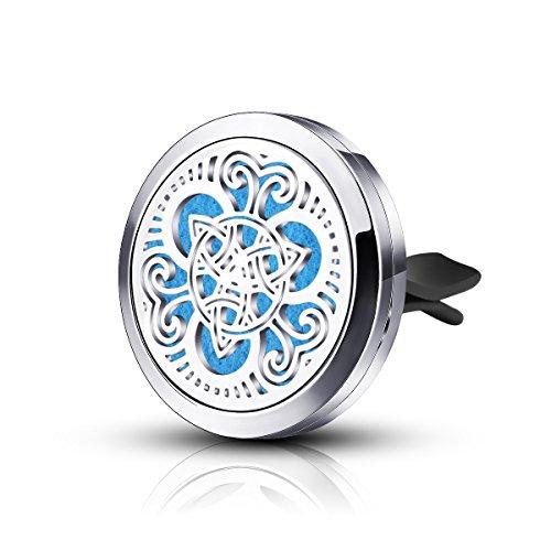 INFUSEU Aromatherapie Auto Lufterfrischer - Celtic Knot Design Edelstahl Medaillon - Beste ätherische Öl Diffusor für Männer & Frauen - Perfekte Geschenke für Familie, Freunde