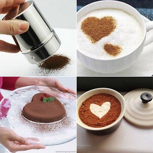 AchidistviQ Edelstahl Schokoladenstreuer Mehl Puder Zucker Kaffee Sieb + Deckel multi