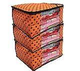 #7: Kuber Industries™ Non Woven Polka Dots Designer Saree Cover Set of 3 Pcs (Orange)
