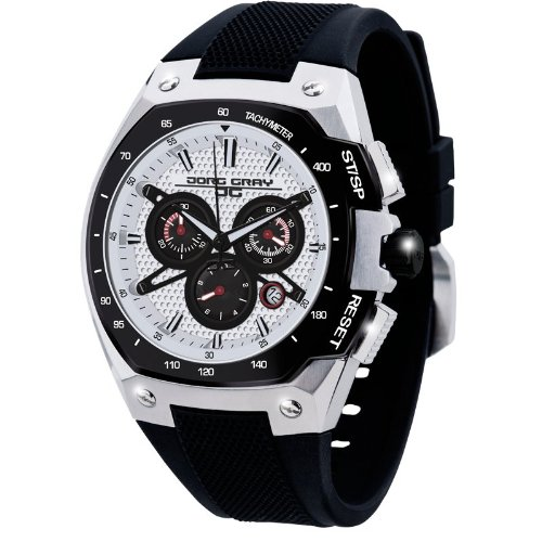 Jorg Gray Men's Quartz Watch with Silver Dial Chronograph Display and Black Silicone Strap JG8300-22