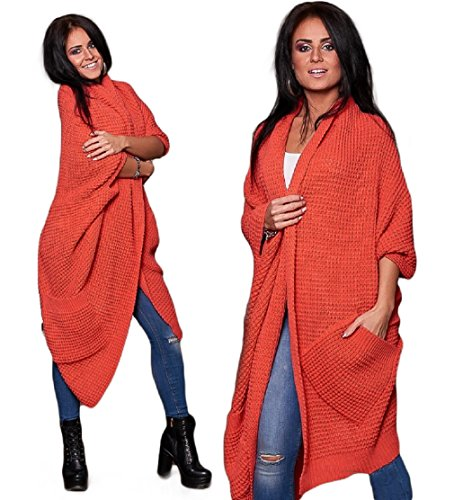 4sold (TM Damen Poncho Women Ladies WARM Knitted Poncho Jumper Sweater Jacket Cape WRAP Shawl with Pocket (Coral) -