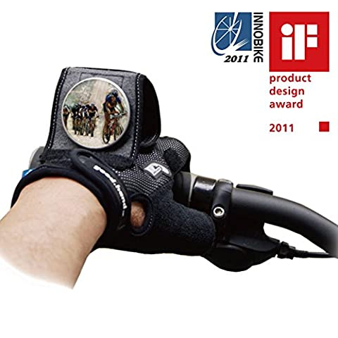 Bicycle Wrist Safety Rear View Mirror Combined with Half Finger Gloves for Cyclists Mountain Bike Road Riding Cycling
