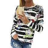 Sonnena Sweatshirt Sweatshirt Damen Hemd Top Sonnena Langarm T-shirt Lange Ärmel Gestreifte Blumendruck Hoodie Pullover Bluse Oberteile (Schwarz, L)