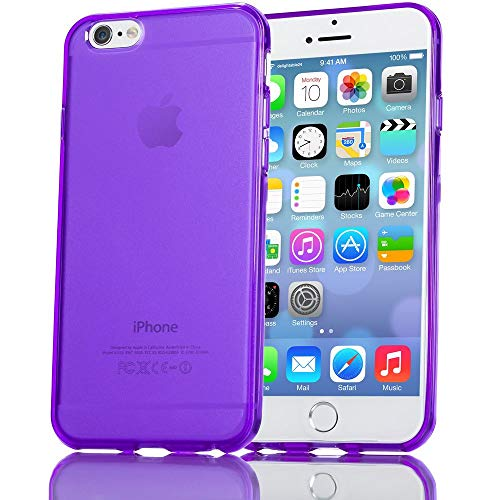 NALIA Handyhülle kompatibel mit iPhone 6 6S, Ultra-Slim Silikon Case Crystal Schutz-Hülle Dünn Durchsichtig, Handy-Tasche Telefon-Schale Back-Cover Skin Thin-Fit Smart-Phone Bumper - Lila Transparent Lila Crystal Skin