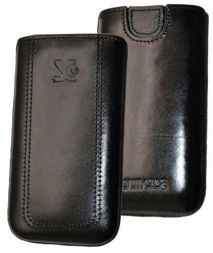 Original Suncase Tasche für / Emporia PURE / Leder Etui Handytasche Ledertasche Schutzhülle Case Hülle - Lasche mit Rückzugfunktion* in schwarz