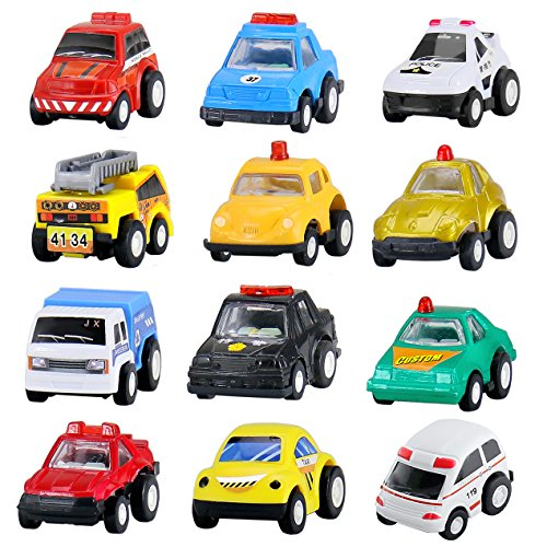 BBLIKE 12pcs Pull back and Go Mini Cars Hot Wheels Construction Vehicles Set Toys Police Car, Cake Decoration Plastic Model Toy Sets Classic Construction Team, Vehicle Play Trucks Early Educational for 3 Year Old Kids