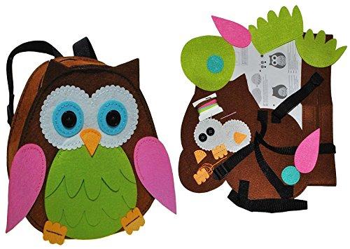 Unbekannt Bastelset: Eule - Rucksack - Filztasche zum Sticken, Nähen per Hand - Kinderrucksack Filz Eulen grün - Tasche Handarbeiten Filz erstes Nähen Handarbeit