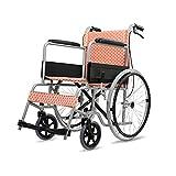 YONG FEI Rollstuhl, Stahlrahmen ältere behinderte manuelle Rollstuhl Kinder Roller, kleine leichte Faltbare tragbare Reise Gute Qualität (Farbe : Orange)