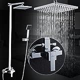 Auralum® Chrom Duscharmatur Duschset Kupfer Duschsystem mit Regendusche und Handbrause