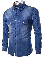 Glestore - Chemises en jean - Manches longues - Chemise fashion - Homme Taille: XS-4XL Bleu et Noir