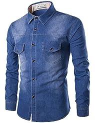 Glestore Chemises en jean Homme Manches longues XS-3XL