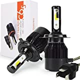 Picture Of H4 LED Car Headlight Bulbs Kit - Safego Hi/Lo LED Headlight Kit Bulbs COB Chip HB2 9003 High Low Car Auto LED Conversion Kit 12V 1 Year Warranty Replace for Halogen Lights or HID Bulbs Lamp C6S-H4