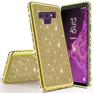 Miagon für Samsung Galaxy Note 9 Glitzer Hülle,Bling Überzug Glänzend Strass Diamant Weich TPU Silikon Handy Hülle Etui…