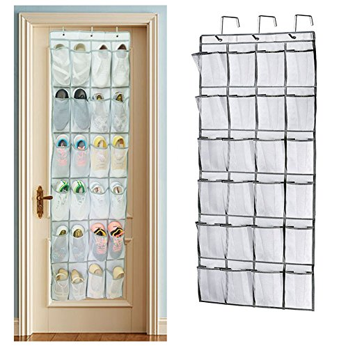 Shoe Rack Over Door Storage, Sunblue 24 Mesh Pockets Heavy Duty Hanging Shelf Holder Storage Stand Tidy Organiser for Closet
