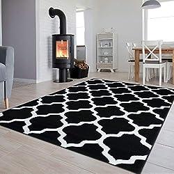 Tapiso Collection Luxury Tapis de Salon Chambre Moderne Couleur Noir Blanc Motif Géométrique Facile d'entretien Haute Qualité 160 x 220 cm