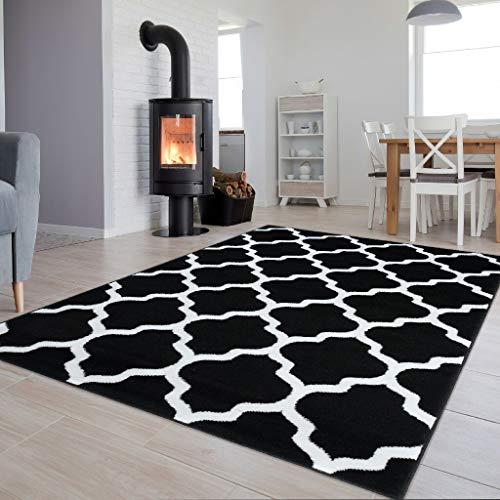 Schwarz Und Weiß Moderne Teppich (Tapiso Luxury Teppich Kurzflor Modern Marokkanisch Geometrisch Gitter Kleeblatt Muster Schwarz Weiss Wohnzimmer ÖKOTEX 200 x 300 cm)